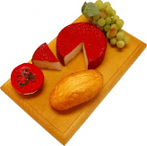 Fontina with Slice Fake Cheese Combo on Wood Board USA