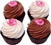 Rose Fake Chocolate Cupcake 4 Pack Assortment