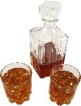 Whiskey Brandy Decanter Glass 3 piece Set fake drink USA