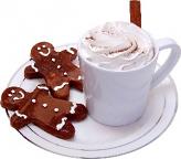 Fake Hot Chocolate Plastic Mug and Gingerbread Cookies on Plate