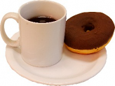 Coffee And Doughnut On Plate USA