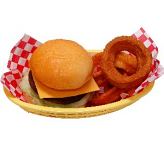 Cheeseburger and Onion Rings Basket Fake Foods