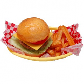 Cheeseburger and French Fries Basket Fake Food