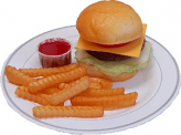 Cheeseburger and French Fries Fake Food Plate