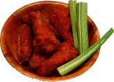 Fake Buffalo Wings Red Sauce 6 Piece with Wood Bowl