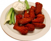 Fake Buffalo Wings Red Sauce Plate 12 Piece