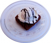 Fake Brownie and Vanilla Ice Cream on Plate
