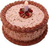 LED Candle Mocha Fake Cake 9 inch
