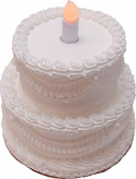 LED Candle Wedding Fake Cake Two Tier Stacked White 7 Inch
