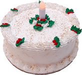 "LED Candle 9"" Christmas Holly Vanilla Fake Cake"