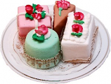 Mini Fakey Cakes 4 pack Petit Fours on Plate