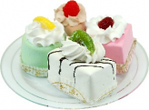 Mini Fruit Fakey Cakes 4 pack Petit Fours Plate