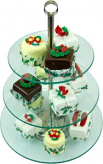 13 Piece Tempered Glass Stand with Christmas Fake Petit Fours