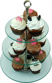 13 Piece Tempered Glass Stand with Fake Designer Cupcakes