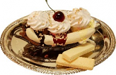 Banana Split Fake Ice Cream with Metal Round Tray U.S.A.