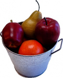 Fake Assorted Fruits 6 Piece with Metal Bucket