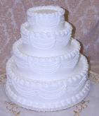 Wedding Fake Cake White Four Tier Stacked 20 Inch