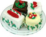 Mini Christmas Fakey Cakes 4 pack Fake Petit Fours Plate