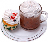 Ice Coffee and Christmas Cupcake Fake Foods on Plate