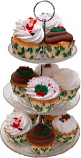 Christmas Small 3 Tier Glass Stand Fake Cupcakes Assortment 13 Piece