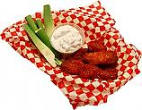 Fake Buffalo Wings Red Sauce In Basket 6 Piece