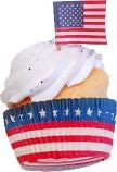 Refrigerator Magnet American Flag Fake Cupcake 2 Pack