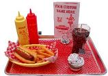 Car Hop fake food Large Tray Hot Dog Set