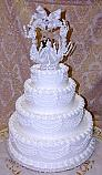 Wedding Fake Cake White Four Tier with Lace and Topper