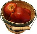 Red Apples 4 piece with Round Basket fake fruit