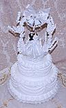 Wedding Fake Cake White Two Tier with Lace and Topper