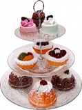 Large Glass 3 Tier Stand with Fake Dessert 11 Piece
